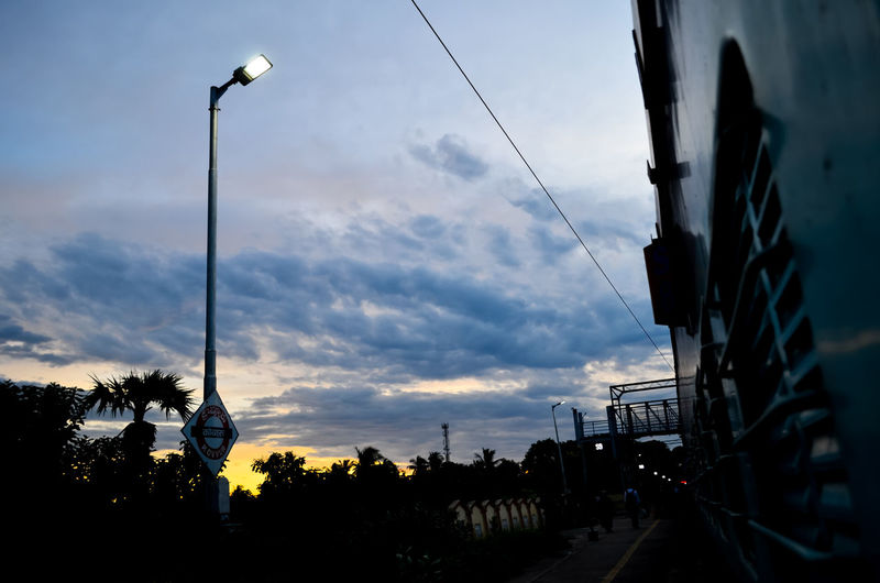Cloud - Sky Day Horizontal Illuminated Lighting Equipment Low Angle View Nature No People Outdoors Sky Street Light Sunset