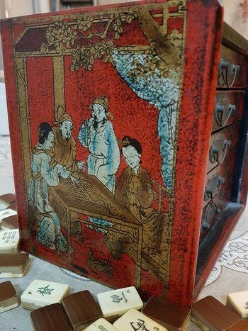 Antique Antique Mahjong Set Mahjong Set Mother's Mahjong Set Chinese Game Chinese Culture Chinese Art Singapore