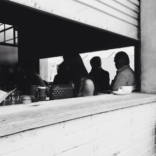 Bench City Life EyeEm Best Shots - Black + White Leisure Activity Lifestyles Melbourne Sitting Wood Urban Cafe Time