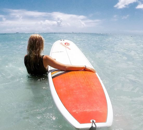 Girl surfing Rear View One Person Leisure Activity Surf Surfing Surfboard Summer Vacation Water Sports Woman Surfing Surfer Summer Summer Activity Outdoor Activity Done That.