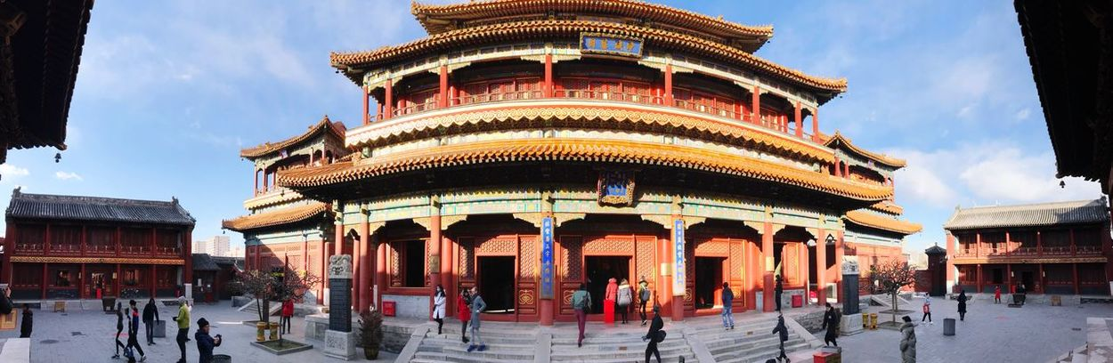 Beijing Lama Temple Architecture Building Exterior Built Structure Large Group Of People Sky Place Of Worship Travel Destinations Outdoors Religion Day Cloud - Sky Panoramic