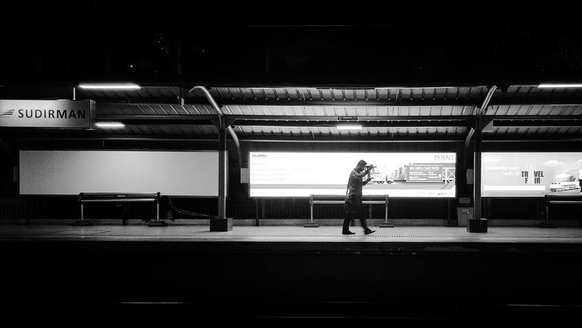 You never walk alone Walking Alone Train Station Single Man Black & White s Snapshot Daily Life Mobile Photography Street Photography The Week On EyeEm