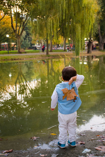 One Person Full Length Rear View Water Tree Reflection Standing Childhood Child Children Only Myson MySON♥ MySonMyLoveMyEverything outdoors Park - Man Made Space Real People Nature Autmn Colors Autumn Leaves Autmngoodbay Autmn In My City BotanicGardens Bursa / Turkey Be. Ready.