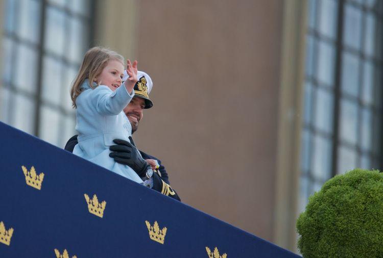 70 Years Old April 30, 2016 At The Balcony Celebrating H.K.H Princess Estelle H.K.H. Prince Carl Philip H.M. King Carl XVI Gustaf Outdoor Royal Family Sweden Stockholm, Sweden
