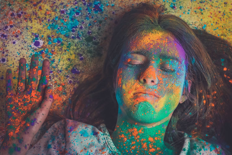 Adult Adults Only Celebration Close-up Day Face Paint Face Powder Happiness Holi Multi Colored One Person Outdoors Paint People Powder Paint Real People Talcum Powder Traditional Festival Young Adult Young Women