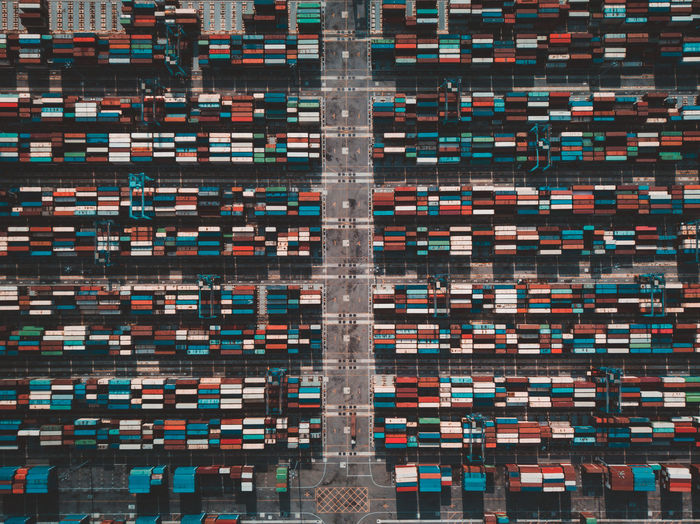 Aerial view of containers at harbor