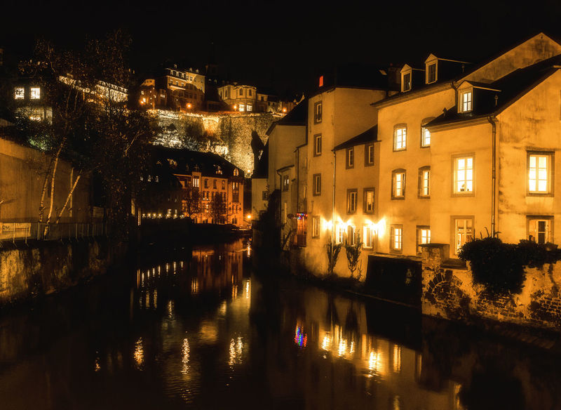 Luxembourg Luxembourg_Collection Reflection Architecture Building Exterior Built Structure City Illuminated Luxembourg By Night Night No People Outdoors Reflection Reflections In The Water Sky Water