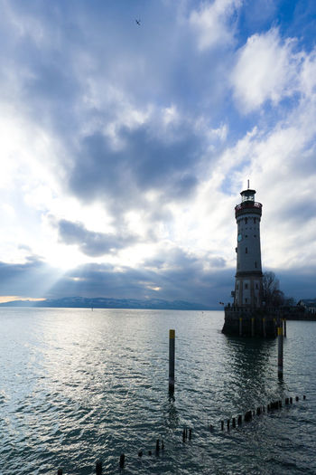 Lighthouse Sea Cloud - Sky Protection Water Building Exterior Safety Harbor Security Architecture Sky Direction Nautical Vessel Built Structure Tranquility Scenics Outdoors Sunset No People Day Lindau Bodensee Lindau Insel