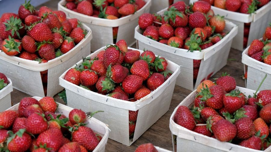Picked, packed, fresh and ready to go for your pleasure. Fuji Xt20 Fresh Photography Selective Focus Farmers Market Strawberries Fruit Red City Market Retail  Ripe For Sale Market Stall Berry Fruit