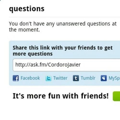 http://ask.fm/CordoroJavier Ask Me Some Questions