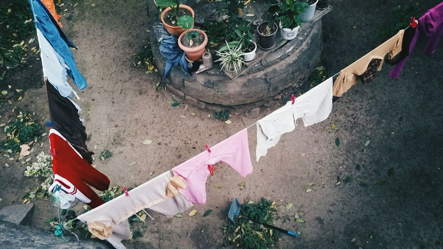 High Angle View Of Clothes Lines