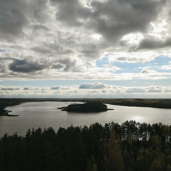 Island of the Autumn Lithuania Lithuanian Nature Dusetos Autumn Autumn🍁🍁🍁 Cloud - Sky Water Scenics Tranquility Nature No People Landscape Horizon Over Water Beauty In Nature Sky Lake Lake View