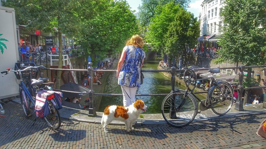 Beautiful Canal Women With A Cute Dog Citylife Tourist Attraction  Nature_perfection