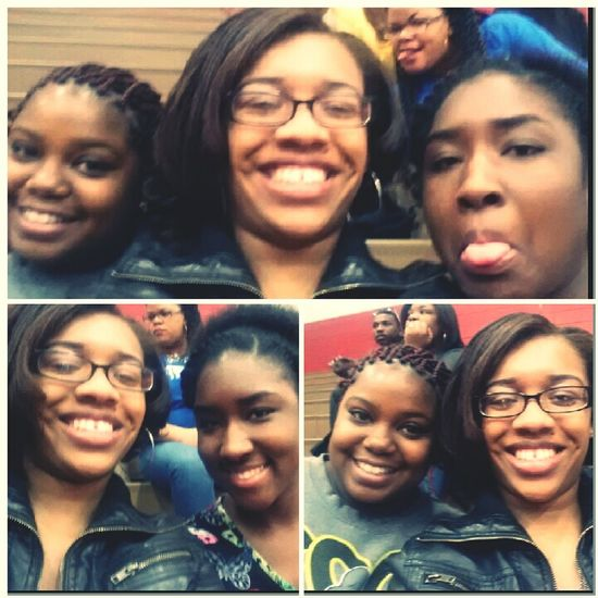 me and these chicks at the game tonight