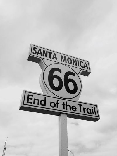 Route 66 California Losangeles Santa Monica Pier Blackandwhite
