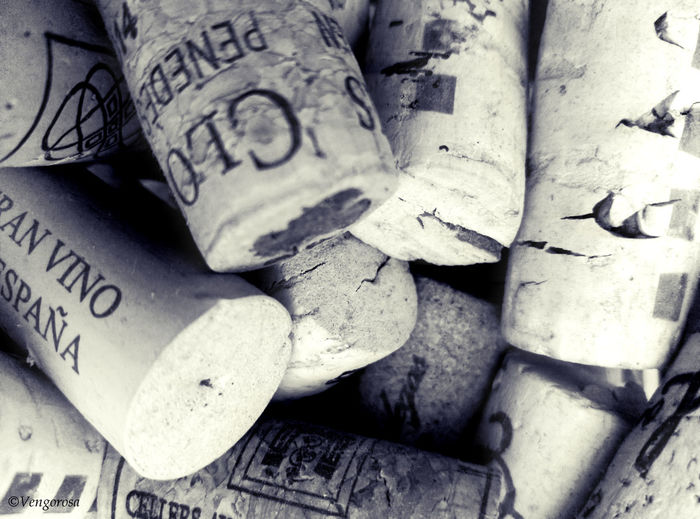 Black & White Blanco Y Negro, Bottle Cap Close-up Corcho Cork No People Tapones De Vino Y Cava Vino Wine