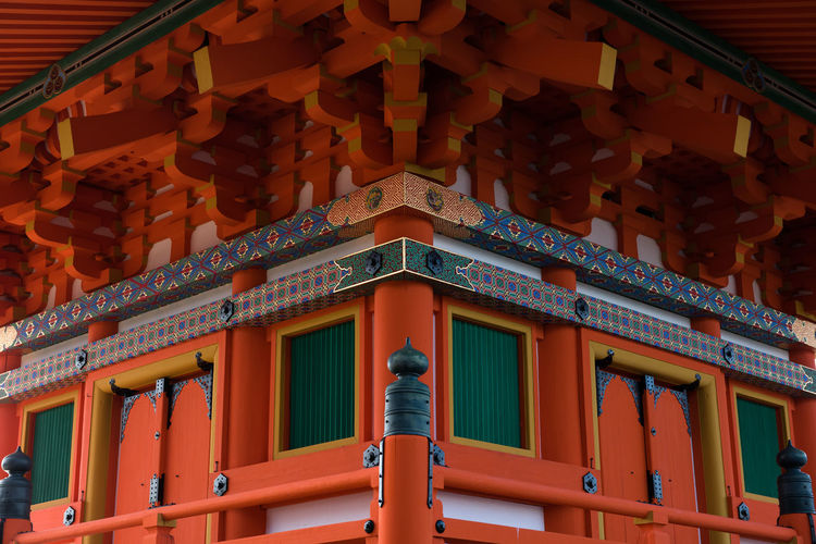 The colourful hues of a Japanese temple, complete with ornate finishes, and intricate wooden beams and patterns. Ancient Ancient Architecture Architecture Asian Culture Bright Colors Building Exterior Colour Of Life Culture Culture Of Japan Doors Green Color Japan Kyoto Symmetry Temple Wooden The Architect - 2018 EyeEm Awards