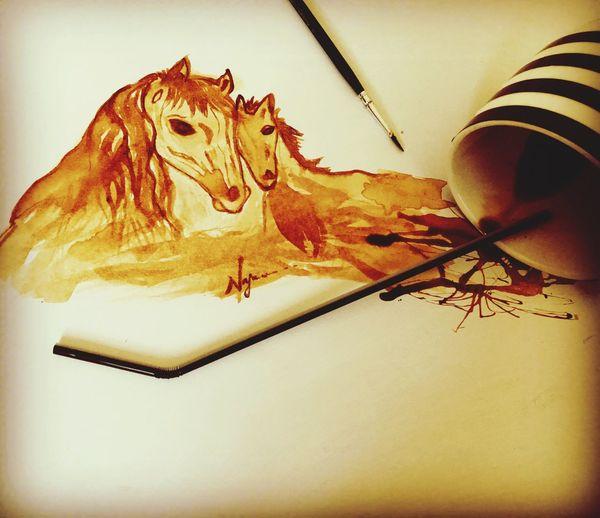 Coffee art Drawing Animal Themes Sketch Pad Learning Mammal