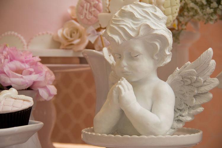 Enfeite de anjo para mesa Angel Statuette Decoration Flower Sculpture Statue Table Decoration