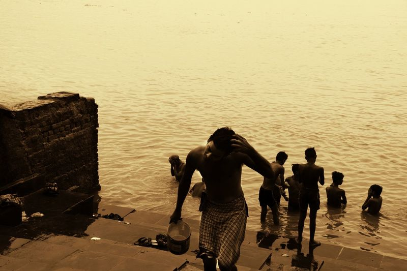 Water Only Men Day Adult Outdoors People Streetsofindia👣 Bathing Ghats On The Ganges Ghats  Ghatsofganges People And Places The Traveler - 2018 EyeEm Awards Summer Road Tripping