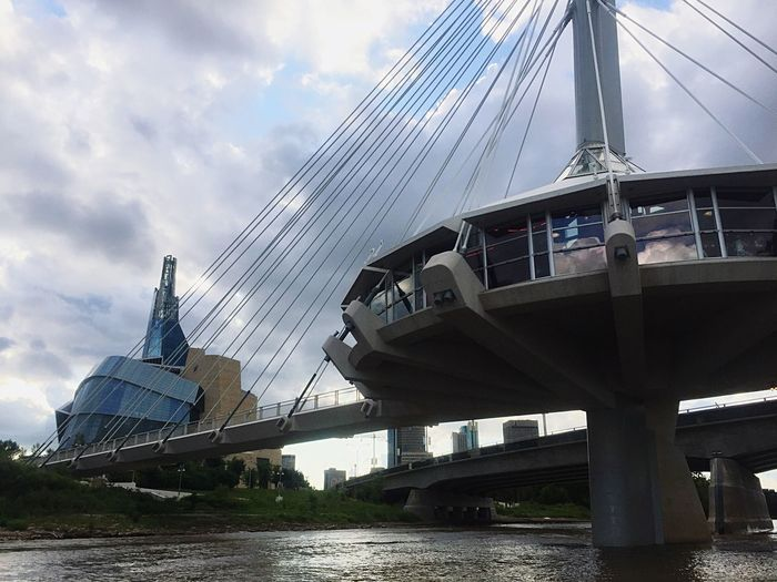 Summer in Winnipeg Only In Canada Human Right Museum Red River Sky Cloud - Sky Bridge - Man Made Structure Built Structure Architecture Transportation Connection Suspension Bridge Travel Destinations River