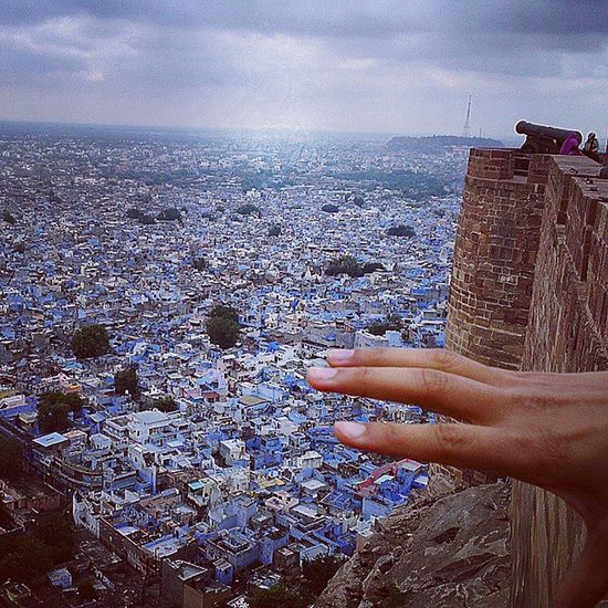 Jodhpur - the Blue City of India As visible from the Jodhpurfort , It's got so many blue Houses that it's been named the blue city of the country. Fort Cannon Incredibleindia Indiapictures Indiatraveller Heritage Town Bluehouse Bluesky Clouds