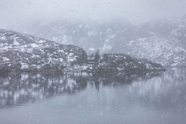 Norway Northern Norway Nordland Lofoten Lofoten Islands Snowing Weather Grey Winter Cold Temperature Water Snow Beauty In Nature Nature Tranquility No People Day Tranquil Scene Reflection Scenics - Nature Waterfront Lake Outdoors Tree Environment Fog Blizzard