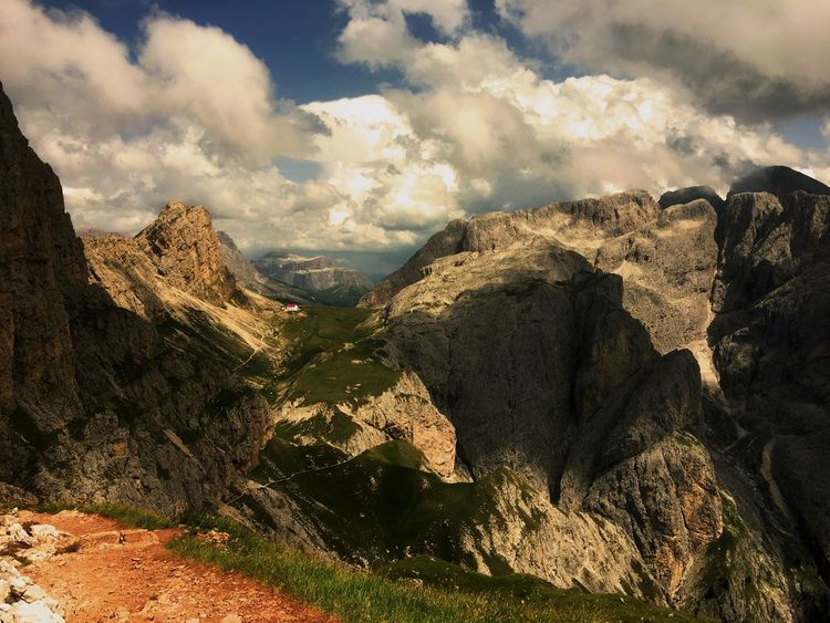 View over Dolomiten Beauty In Nature Clouds And Sky Impressive View Landscape Mountain Range Mountains Nature Scenics Sky Sunny Day Trail Tranquil Scene Tranquility Wild Nature Magic Perspectives On Nature Be. Ready.