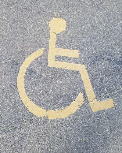 Handicapped Handicapped Sign Handicapped Symbol Handicapped Parking Behinderung Behindertenparkplatz Piktogram Piktogramm Wheelchair Access Wheelchair Differing Abilities Communication Road Asphalt Parking Sign