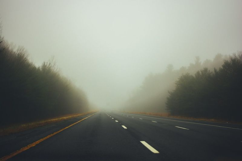 The Way Forward Road Road Marking Transportation Fog Diminishing Perspective Nature Weather White Line Tree No People Tranquility Outdoors Day Landscape Scenics Beauty In Nature Sky
