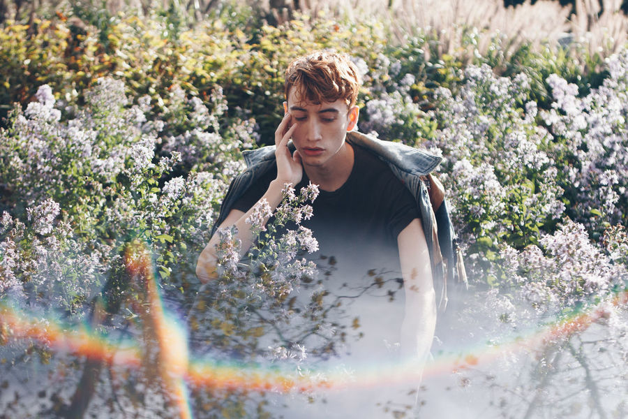 This Is Masculinity Adult Day Flower Freshness Front View Growth Leisure Activity Lifestyles Nature One Person Outdoors People Plant Real People Water Young Adult Young Women