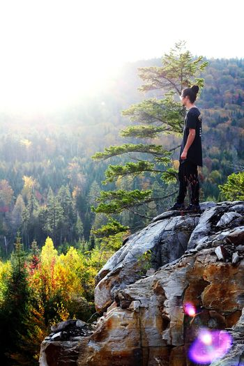 Wassim Bouayad EyeEmNewHere Tree Standing Mountain Young Women Women Sky Landscape Plant Sunbeam Lens Flare Scenics Tranquility Rocky Mountains Tranquil Scene Hiker