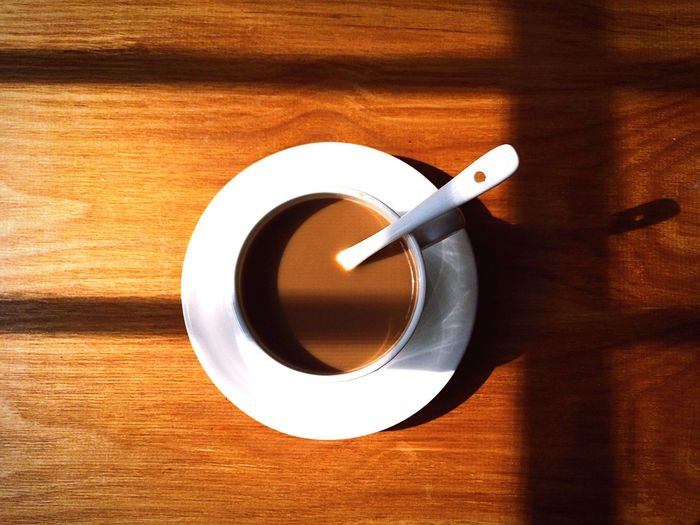 Overhead View Of Tea On Wooden Table