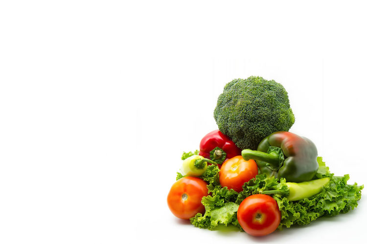 various vegetables (broccoli, tomatoes, bell pepper, lettuce leaves) on white background Agriculture Diet Isolated Salad Vegetarian Food Broccoli Close-up Food Food And Drink Freshness Green Color Healthy Eating Healthy Lifestyle Indoors  Lettuce Multi Colored No People Pepper Raw Food Ready-to-eat Studio Shot Tomato Vegetable Vegetables White Background