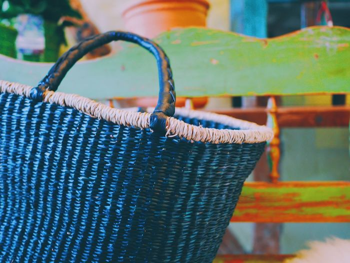 Close-Up Of Basket On Bench