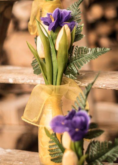 Wooden Stepladders EyeEm Selects Organza Yellow Tulips Purple Iris Tulips Silk Flowers Rustic Country Wedding Wedding Photography Wedding Wedding Flowers Flower Arrangement Flower Freshness Close-up Petal No People Purple Nature Flower Head Day Outdoors