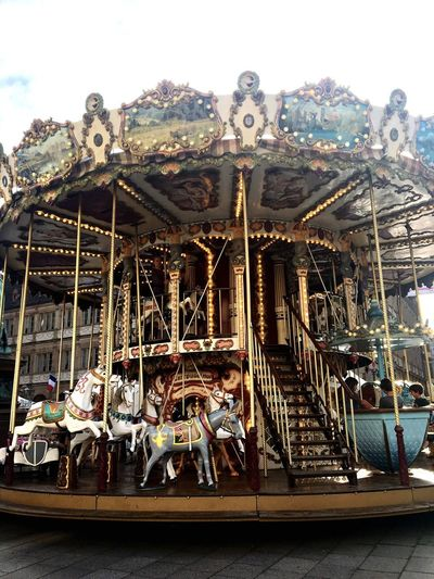 carousel Daylight City France City Life Carousel Amusement Park Amusement Park Ride Arts Culture And Entertainment Sky Day Outdoors Enjoyment Fun Merry-go-round Architecture