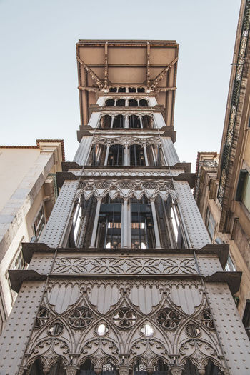 Lisbon Elevador De Santa Justa Elevator Architecture Built Structure Low Angle View Sky Building Exterior No People Day Clear Sky Travel Destinations Nature Building Pattern Window History The Past City Tower Outdoors Tall - High Place Of Worship Directly Below Ornate