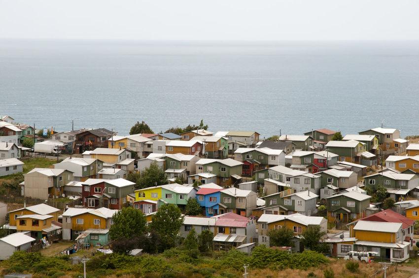 Ancud Village Houses - Chiloe Island - Chile Ancud Chile Houses Beach Chilöe Sea Town Village Water
