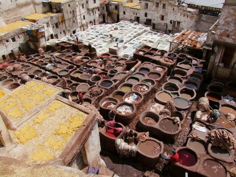 Tannery Ancient Business Culture Directly Above Famous Place Festival Full Frame High Angle View Incidental People Large Group Of Objects Leather Morocco Occupation Old City Retail  Tannery Tourist Attraction  Tourist Destination