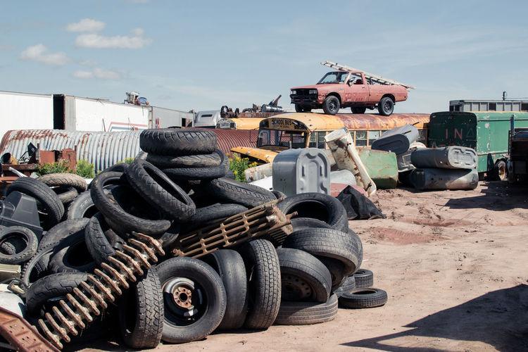 Heap Of Tires At Junkyard