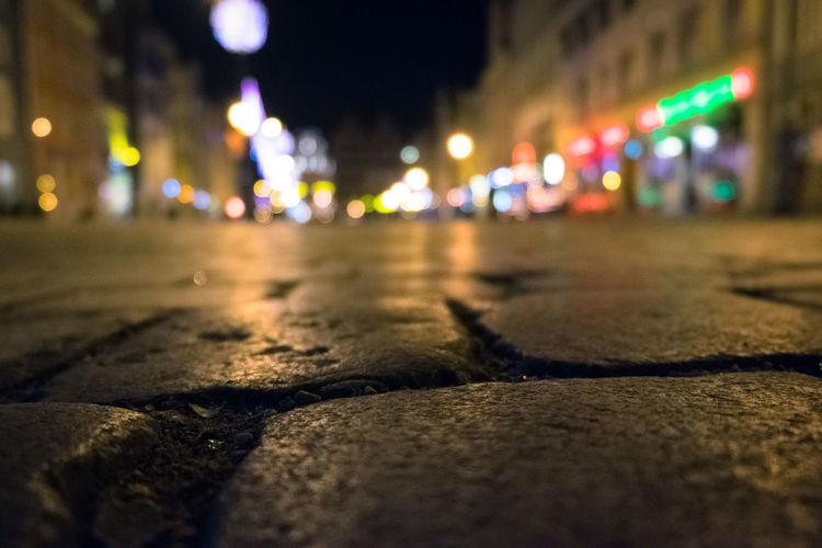 Close-up of illuminated city at night