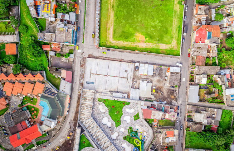 Wide Angle, Aerial Shot Of Banos De Agua Santa, Tungurahua Province, South America Aerial View Altitude Architecture BañosEcuador City City Street Cityscape Cityscape Community Day Drone  Dronephotography Football Field Grass High Angle View Houses Neighborhood No People Outdoors Roofs South America Summer Sun Travel Destinations Wide Angle