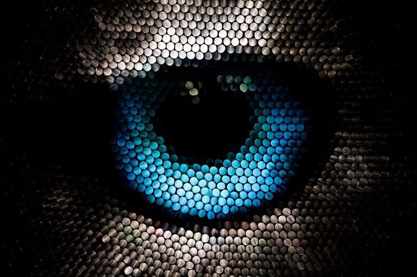 Pattern Abstract Illuminated No People Multi Colored Eye Circles Strawcamera Straws Textured  Animal Eye Blue Pixelated Visual Creativity