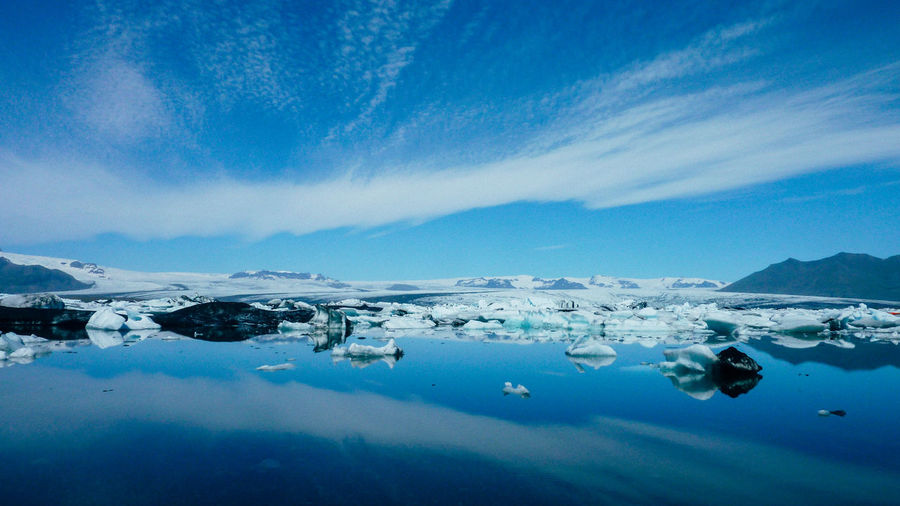 Scenic view of icelandic glacier lake against sky