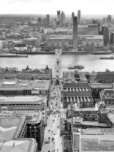 Millenium Bridge & Tate, London Building Exterior Architecture Built Structure Cityscape High Angle View City Building Day Residential District Travel Destinations Travel Nature Outdoors Tourism Millenium Bridge Bridge Urban Urban Skyline City Cityscape Tate TateModern Bw Bw_collection Blackandwhite