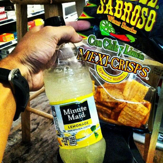 This lemonade and pork grinds are so good right now. Minutemaid Porkgrinds Snack Mmmgood