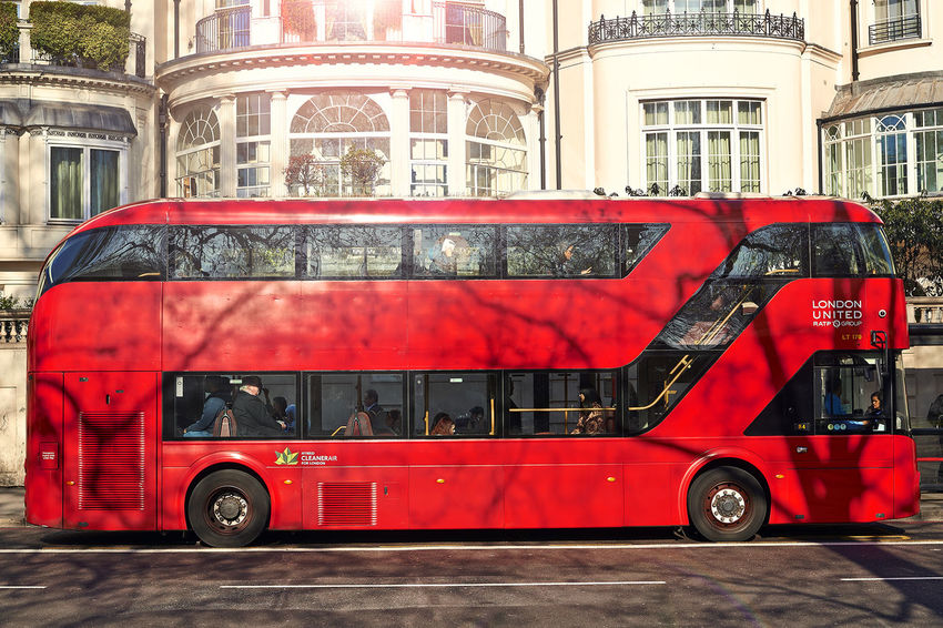 Red double-decker bus. EyeEm LOST IN London Green Heatherwick Architecture Design Double-decker Bus Land Vehicle Newroutemaster Outdoors Red Transportation