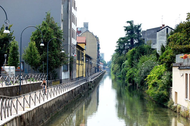 View of canal along buildings