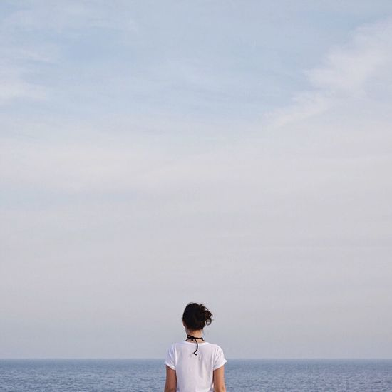 Live For The Story Sea Horizon Over Water Water Sky One Person Day Cloud - Sky Standing Rear View Scenics Beach Nature EyeEm Best Shots TheWeekOnEyeEM Athens, Greece Summertime Summer ☀ Greece Summer Nature Minimalism Minimal Blue Horizon BYOPaper! The Great Outdoors - 2017 EyeEm Awards